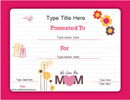 Special Certificates Mothers Day Template Certificatestreet Com