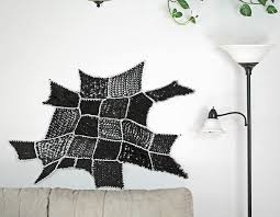 modern fiber art black white yarn tissage mural ombre patch asymmetrical tapestry wall hanging handmade gift interior home decor crochetknit on black art tapestry wall hangings with modern fiber art black white yarn tissage mural ombre patch