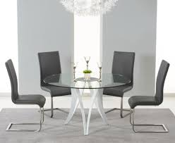 bellevue 130cm round glass dining table with 4 malibu grey leather chairs me home furnishings