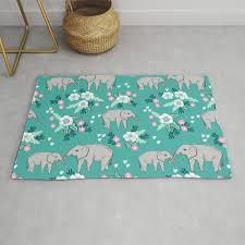elephants cute pattern fls good luck flowers and baby animals rug
