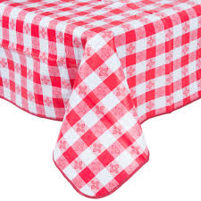 52 inch x 52 inch red gingham vinyl table cover with flannel back