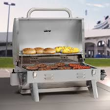 compact smoke hollow 205 stainless steel table top propane gas grill