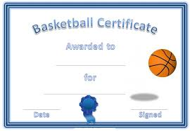 Free Basketball Certificates Blank Kiddo Shelter