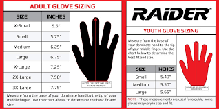 Large Gloves Size Chart Amazon Com Raider Glove Size Chart