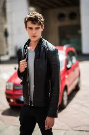 man wearing leather jacket on the street milan