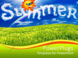 green grass field animated. PowerPoint Template Displaying Animated Smiling Sun In A Blue Sky Over Green Grass Field