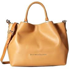 caramel mini leather satchel and large zip dooney bourke barlow ostrich collection