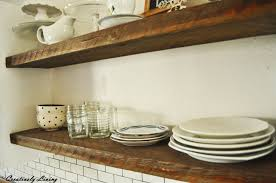 Open Kitchen Shelf Rustic Open Shelves In Between Cupboards Creatively Living