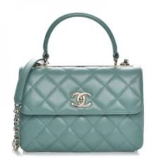 CHANEL Lambskin Quilted Small Trendy CC Flap Dual Handle Bag Light ... & CHANEL Lambskin Quilted Small Trendy CC Flap Dual Handle Bag Light Green  218042 Adamdwight.com