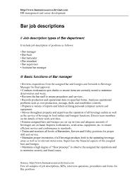 Banquet Job Description Server Printable Of Bartender Duties