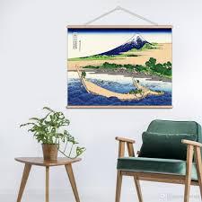 Mondern Japanischen Stil Ukiyoe Retro Fugaku Sanjurokkei Wandkunst Gemälde Leinwanddruck Mit Holzbügel Für Home Badezimmer Dekoration