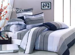 dark blue white and grey color stripe 4 piece bedding sets