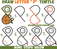 Small Picture How to Draw a Cute Cartoon Turtle from Letter P Shapes Easy Step