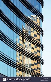 reflections in curved glass office building London UK