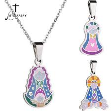 letdiffery virgin mary maria miraculous medal pendant necklace cartoon style catholic religious jewelry for women