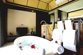 Bathroom:Oriental Bathroom Decorated By Flowers On White Bathtub Feels Cozy  For Valentine Date Oriental