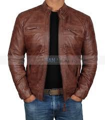 johnson distressed lambskin brown biker leather jacket