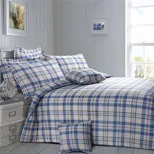 details about check plaid blue cream brown king size cotton blend duvet comforter cover