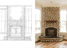 river rock fireplace family room traditional with none