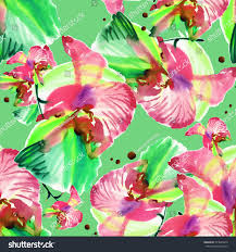 Seamless pattern of beautiful orchid Q. Beautiful pattern for decoration  and design. Trendy print