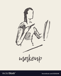 woman applying makeup hand drawn sketch vector image