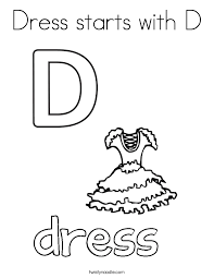Small Picture Dress starts with D Coloring Page Twisty Noodle