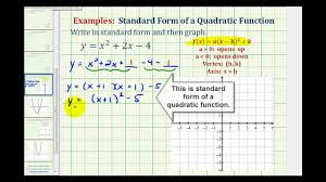 ex1 write a quadratic function in standard form to graph
