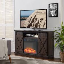 home source murray espresso electric fireplace tv stand with barnyard cabinet doors com