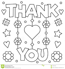 Thank You Coloring Page Vector Illustration Stock Vector