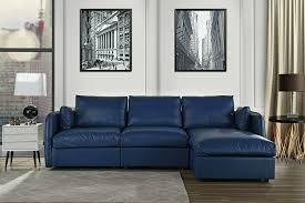l shape living room real leather sectional sofa with chaise lounge navy for