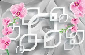 3d wall murals wallpaper gray wallpaper and pink flowers 3d art no 10000014037