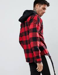 boohooman jacket with zip hood in red check red