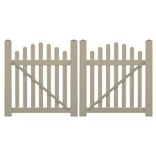 picket fence double gate. Wonderful Picket H Khaki Vinyl Picket Fence Double Intended Gate L