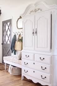 Diy tutorial antiquing wood Plywood Dark And Dated Armoire Gets Makeover With Creamy White Paint And Beautifully Distressed Details Love Grows Wild Armoire Makeover How To Antique Furniture Love Grows Wild