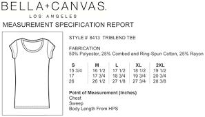 Bella Tee Size Chart Faq Little Mountain Print Shoppe