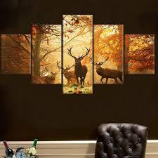 Living Room Canvas Paintings No Frame 5 Pcs Deer Wall Painting Modern Tree Canvas Painting Art