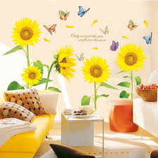 idyllic sunflower decal yellow fl decals tropical home wallpaper removable vinyl wall stickers