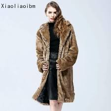 grey faux fur coat long faux fur women imitation mink winter thick warm faux fur coat
