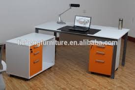 Office table with drawers Shape White Melamine Office Table With Drawers And Side Cabinet Alibaba White Melamine Office Table With Drawers And Side Cabinet Buy