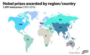 looking back at the remarkable history of the nobel prize from the maps above showing nobel prizes in regions around the world were inspired by similar ones featured in an 15 2013 washington post article by max
