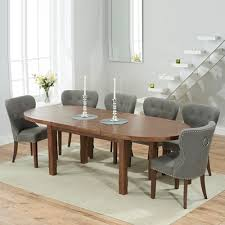 chevron dark oak oval extending dining table with 6 kalvin grey chairs 6809