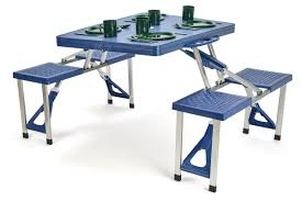 portable aluminum folding picnic table with 4 seats by trademark innovations portable folding picnic table a32