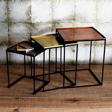 square tray enamel nesting tables set of 3 brushed copper brass nickel