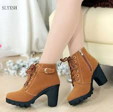 <b>2019 New</b> Autumn Winter Women Boots High Quality Solid Lace up ...