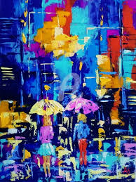 night city lights painting 40x30x0 2 cm 2017 by alena shymchonak