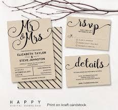 Printable Wedding Invitation Set Editable Modern Wedding