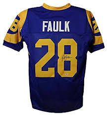 Autographed Marshall Faulk Jersey Los Angeles Xl Blue Bas