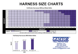 Fall Protection Harness Size Chart Full Body Harnesses