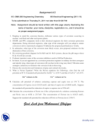 introduction to engineering chemistry engineering chemistry assignment the document