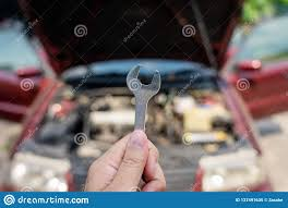 Mechanical Engineer Cars Mechanical Engineer Hands Open The Car Skirt To Check The